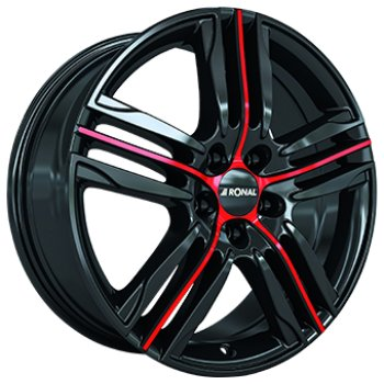 Janta aliaj RONAL R57 7.5x17 5x108 et45 Gloss Black / Red